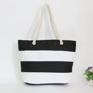 New Canvas Bag Striped Handbags Shoulder Bag Totes